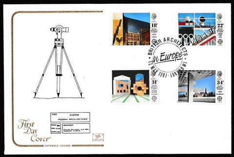 Great Britain First Day Cover, 'British Architects in Europe', Cotswold, British Architects in Europe, London, W1, 12-May-1987