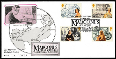 Great Britain First Day Cover, '150th Annversary Accession of Queen Victoria', Official, Marconi's First Wireless Transmission to France, Chelmsford, 08-Sep-1987