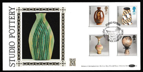 Great Britain First Day Cover, 'British Studio Pottery', Benham, Potters Corner, Ashford, Kent, 13-Oct-1987