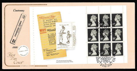 Great Britain First Day Cover, 'FT100 - Prestige Stamp Book Pane - Set of 4 Covers', Cotswold, London, EC4, 09-Feb-1988