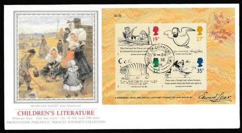 Great Britain First Day Cover - Mini Sheet, 'Centenary of Edward Lear - Mini Sheet', Presentation, House of Commons, London, SW1, 27-Sep-1988