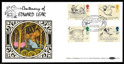 Great Britain First Day Cover, 'Centenary of Edward Lear', Benham, Birthplace of Edward Lear, Holloway, London, N7, 06-Sep-1988