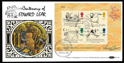 Great Britain First Day Cover - Mini Sheet, 'Centenary of Edward Lear - Mini Sheet', Benham, Centenary of Edward Lear, Learmouth, Northumberland, 27-Sep-1988
