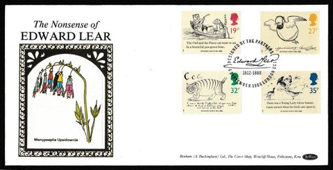 Great Britain First Day Cover, 'Centenary of Edward Lear', Benham, Designed by the Partners, London, EC1, 06-Sep-1988