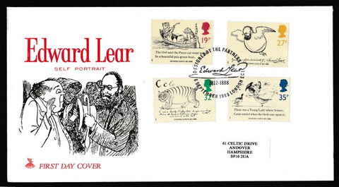 Great Britain First Day Cover, 'Centenary of Edward Lear', Mercury, Designed by the Partners, London, EC1, 06-Sep-1988
