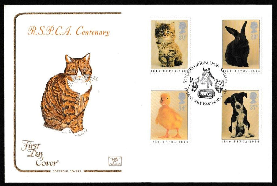 Great Britain First Day Cover, '150th Anniversary RSPCA', Cotswold, RSPCA 150 Years Caring for Animals, Horsham, 23-Jan-1990