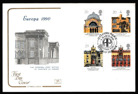 Great Britain First Day Cover, 'Europa 1990 - Historic Buildings', Cotswold, Alexandra Palace, London, N22, 06-Mar-1990
