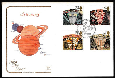 Great Britain First Day Cover, 'To the Planets & Beyond, Woolsthorpe', Cotswold, Astronomical Alignments at Stonehenge, Amesbury, 16-Oct-1990