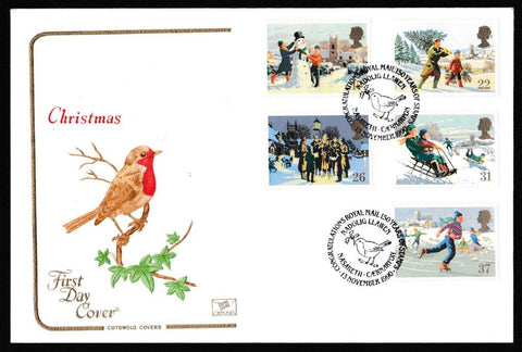 Great Britain First Day Cover, 'Christmas 1990', Cotswold, Nasareth, Caernarvon, 13-Nov-1990