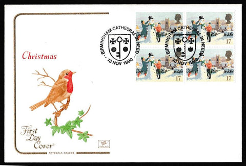Great Britain First Day Cover, 'Christmas 1990', Cotswold, Birmingham Cathedral in Need, 13-Nov-1990