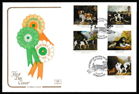 Great Britain First Day Cover, 'Dogs - Centenary Crufts Dog Show', Cotswold, The Best of British Dogs on Show, Birmingham, 08-Jan-1991