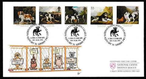 Great Britain First Day Cover, 'Dogs - Centenary Crufts Dog Show', CoverCraft, A Dog is For Life, National Canine Defence League, London, NW1, 08-Jan-1991