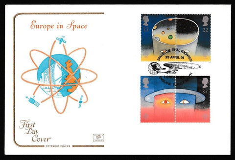 Great Britain First Day Cover, 'Europe in Space', Cotswold, Space the Final Frontier, England, Planet Earth, 23-Apr-1991