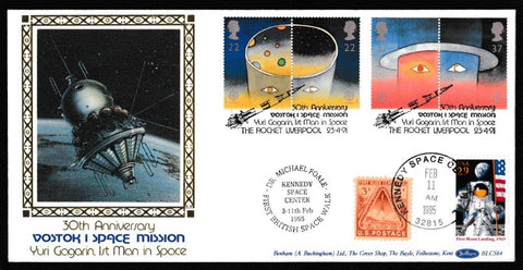 Great Britain First Day Cover, 'Europe in Space', Benham, Vostok 1 Space Mission, The Rocket, Liverpool, 23-Apr-1991