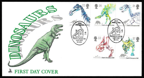 Great Britain First Day Cover, '150th Anniversary Use of the word Dinosaur', Mercury, 150th Anniversary of the word Dinosaur, Oxford, 20-Aug-1991
