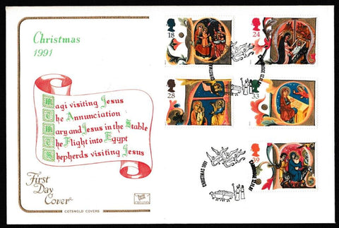 Great Britain First Day Cover, 'Christmas 1991', Cotswold, Cambridge, 12-Nov-1991