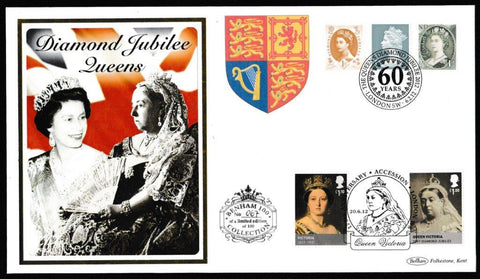 Great Britain Commemorative Cover, 'Diamond Jubile Queens (Benham 100)', Benham, The Queens Diamond Jubilee 2012, London, SW, 06-Feb-2012
