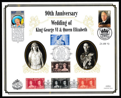 Great Britain Commemorative Cover, '90th Anniversary Wedding King George VI & Queen Elizabeth (Benham 100)', Benham, Westminster Abbey, London SW1, 26-Apr-2013