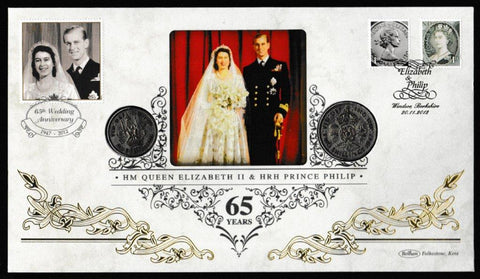 Great Britain Numismatic Cover, 'HM Queen Elizabth II & HRH Prince Philip 65 Years', Benham, Elizabeth & Philip, Windsor, 20-Nov-2012