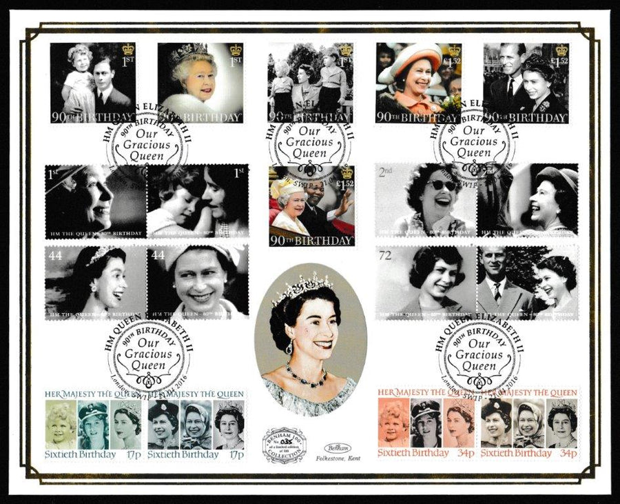 Great Britain First Day Cover, 'HM The Queens 90th Birthday (Benham 100)', Benham, Our Gracious Queen, 90th Birthday, London, SW1P, 21-Apr-2016