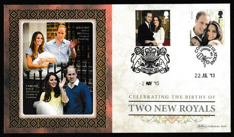 Great Britain Commemorative Cover, 'Celebrating the Births of Two New Royals', Benham, Congratulations, London, W8, 22-Jul-2013