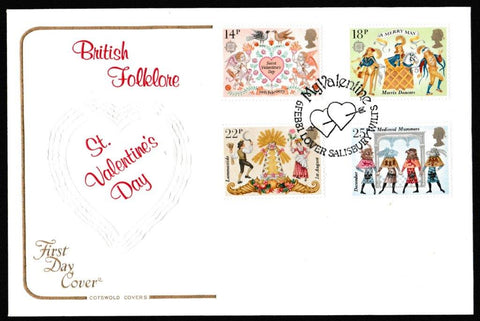 Great Britain First Day Cover, 'Folklore', Cotswold, Valentines at the British Library, London WC, 06-Feb-1981