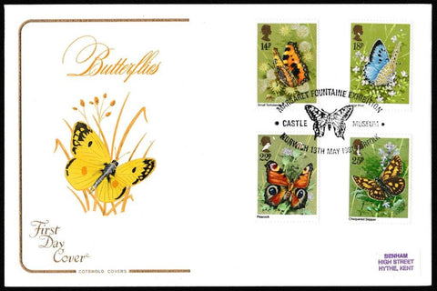 Great Britain First Day Cover, 'British Butterflies', Cotswold, National Butterfly Museum, Bramber, Steyning, W. Sussex, 13-May-1981