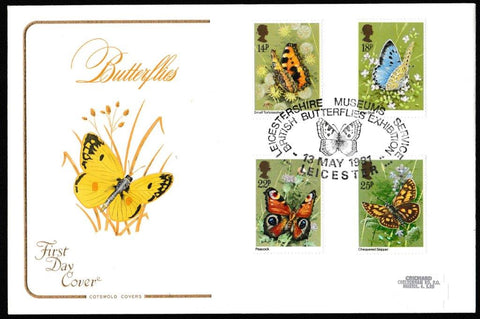 Great Britain First Day Cover, 'British Butterflies', Cotswold, Leicester Museums Service, Leicester, 13-May-1981