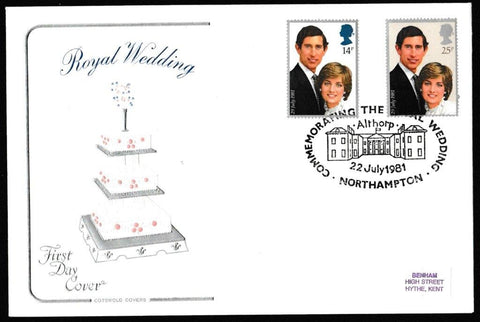 Great Britain First Day Cover, 'The Royal Wedding - HRH Prince Charles & Lady Diana Spencer', Cotswold, Commemorating the Royal Wedding, Althorp, Northampton, 22-Jul-1981