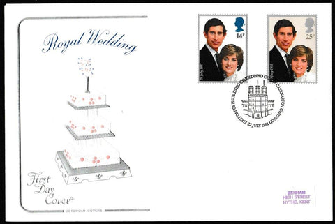 Great Britain First Day Cover, 'The Royal Wedding - HRH Prince Charles & Lady Diana Spencer', Cotswold, Caernarvon, Gwynedd, 22-Jul-1981