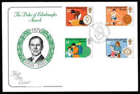 Great Britain First Day Cover, 'Duke of Edinburgh's Award Scheme', Cotswold, London W2, 12-Aug-1981