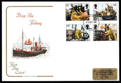 Great Britain First Day Cover, 'Fishing Industry', Cotswold, St. Albans, Herts, 23-Sep-1981