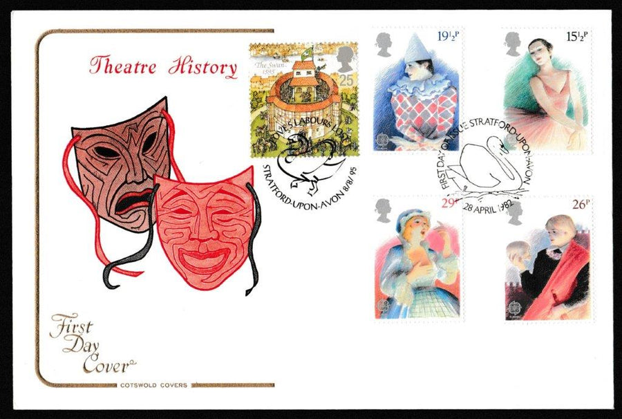 Great Britain First Day Cover, 'British Theatre', Cotswold, Stratford-Upon-Avon, 28-Apr-1982