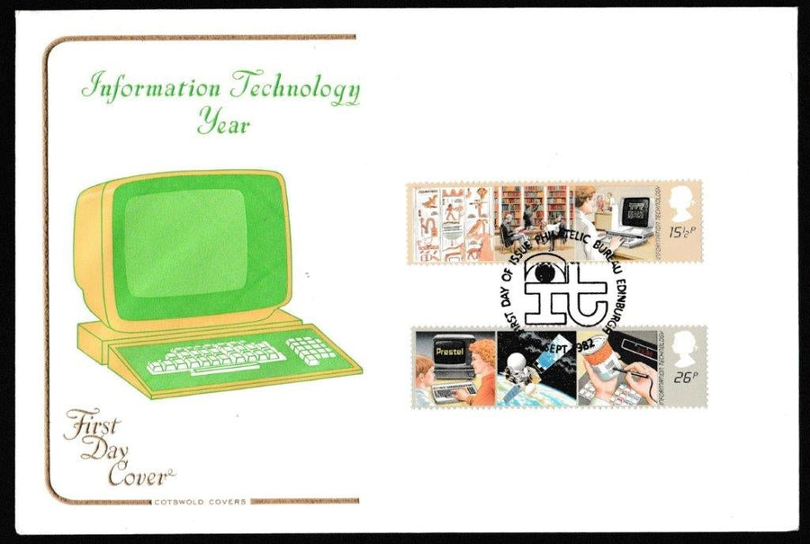 Great Britain First Day Cover, 'Information Technology', Cotswold, Philatelic Bureau, Edinburgh, 08-Sep-1982