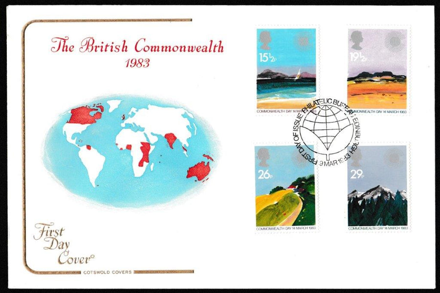 Great Britain First Day Cover, 'Commonwealth Day', Cotswold, Philatelic Bureau, Edinburgh, 09-Mar-1983