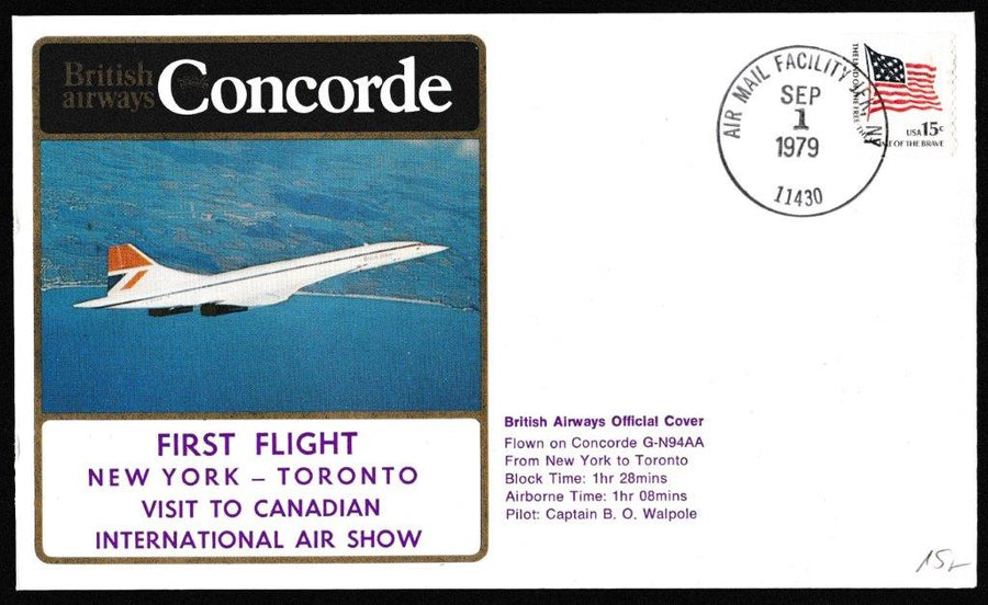 Great Britain Commemorative Cover, 'Concorde - New York to Toronto - First Flight', British Airways, Air Mail Facility, JFK, NY, 01-Sep-1979