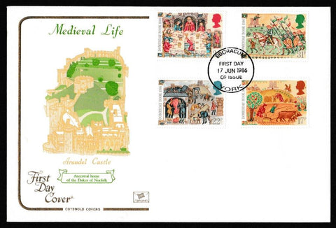 Great Britain First Day Cover, '900th Anniversary of the Domesday Book', Cotswold, Eboracum, York, 17-Jun-1986