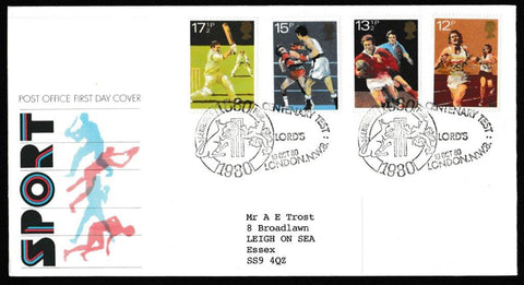 Great Britain First Day Cover, 'British Sports Centenaries', Royal Mail, Lord's Centenary Test, London, NW8, 10-Oct-1980