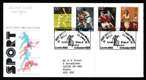 Great Britain First Day Cover, 'British Sports Centenaries', Royal Mail, Post Office v Cricket Writers, Lords Cricket Ground, 10-Oct-1980