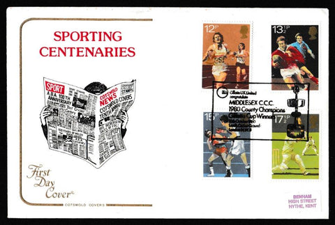 Great Britain First Day Cover, 'British Sports Centenaries', Cotswold, Middlesex CCC, Gillette Cup Winners, 10-Oct-1980