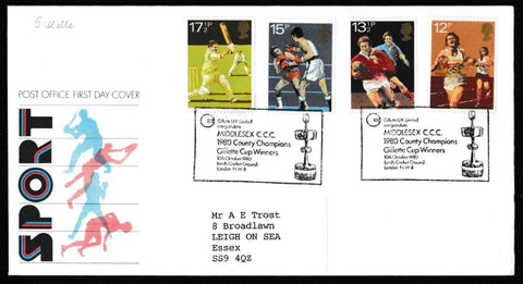 Great Britain First Day Cover, 'British Sports Centenaries', Royal Mail, Middlesex CCC, Gillette Cup Winners, 10-Oct-1980