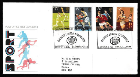 Great Britain First Day Cover, 'British Sports Centenaries', Royal Mail, London Union of Sports Clubs, 10-Oct-1980