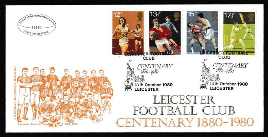 Great Britain First Day Cover, 'British Sports Centenaries', Bradbury, Leicester Football Club Centenary, Leicester, 10-Oct-1980