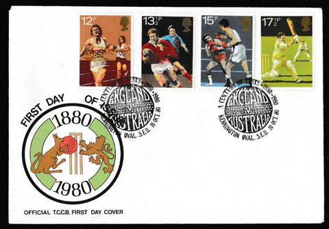 Great Britain First Day Cover, 'British Sports Centenaries', Official, A Century of Tests, Kennington Oval, 10-Oct-1980
