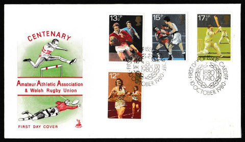 Great Britain First Day Cover, 'British Sports Centenaries', Mercury, Cardiff, 10-Oct-1980