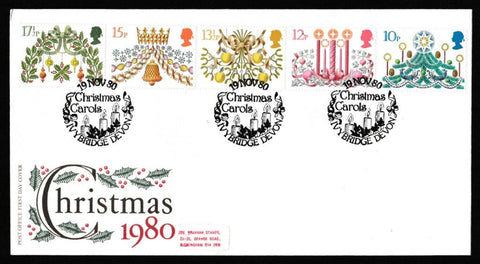 Great Britain First Day Cover, 'Christmas 1980', Royal Mail, Christmas Carols, Ivybridge, Devon, 19-Nov-1980