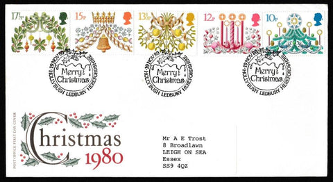 Great Britain First Day Cover, 'Christmas 1980', Royal Mail, Hollybush, Ledbury, Herefordshire, 19-Nov-1980