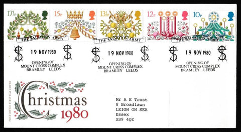 Great Britain First Day Cover, 'Christmas 1980', Royal Mail, Salvation Army, Mount Cross Complex, Leeds, 19-Nov-1980
