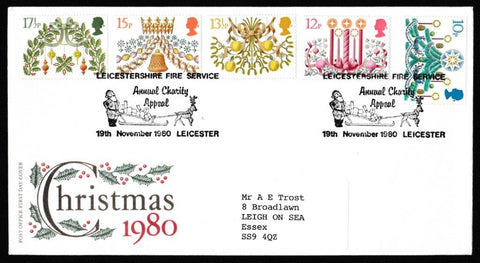 Great Britain First Day Cover, 'Christmas 1980', Royal Mail, Leicestershire Fire Service, Leicester, 19-Nov-1980