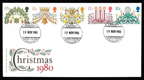 Great Britain First Day Cover, 'Christmas 1980', Royal Mail, British Library, London, WC, 19-Nov-1980
